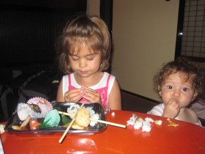Grace and Anna enjoy bento